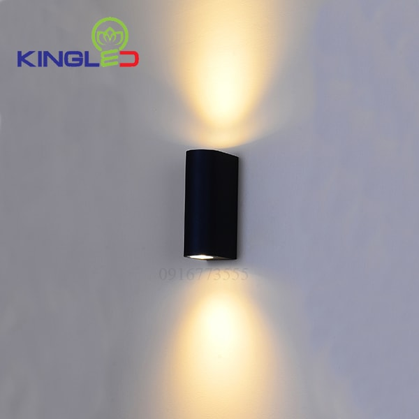 Đèn led gắn tường ngoài trời 2*7w Kingled LWA0148B-BK